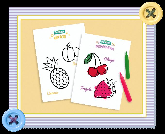 Colora la frutta e la verdura di stagione